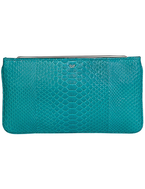 Dhara Clutch - Python Turquoise