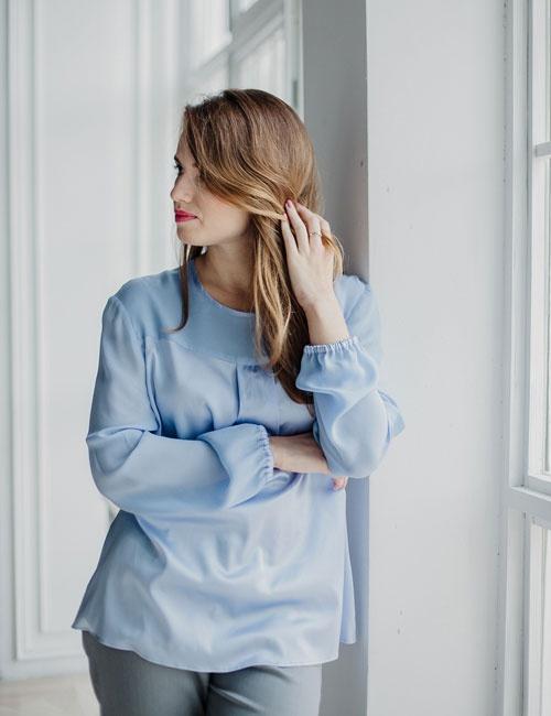 Oversized Sleeves Silk Blouse