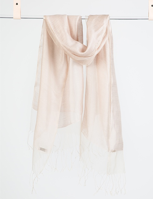 Double Layer Silk/Cotton & Silk Organza Scarf – Oyster