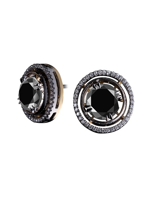 Brilliant-Cut Black Diamond Cufflinks
