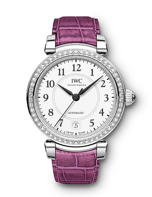Da Vinci Automatic 36 Raspberry Pink Alligator Strap with 54 Diamonds