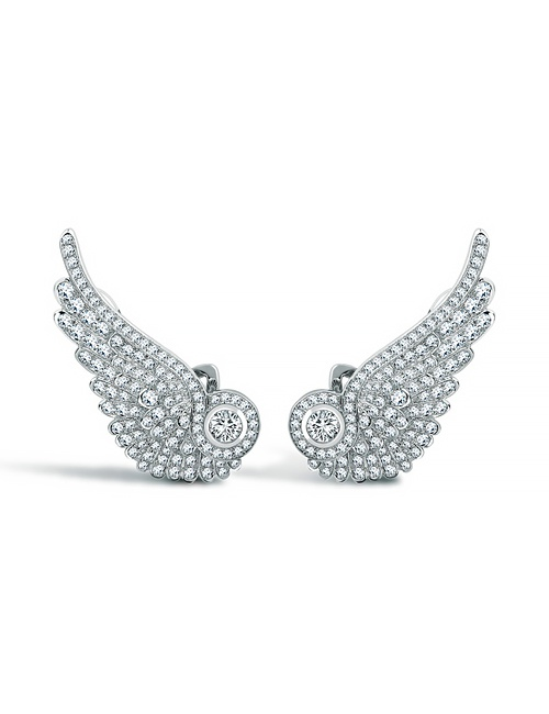 Wings Classic Earrings in White Gold