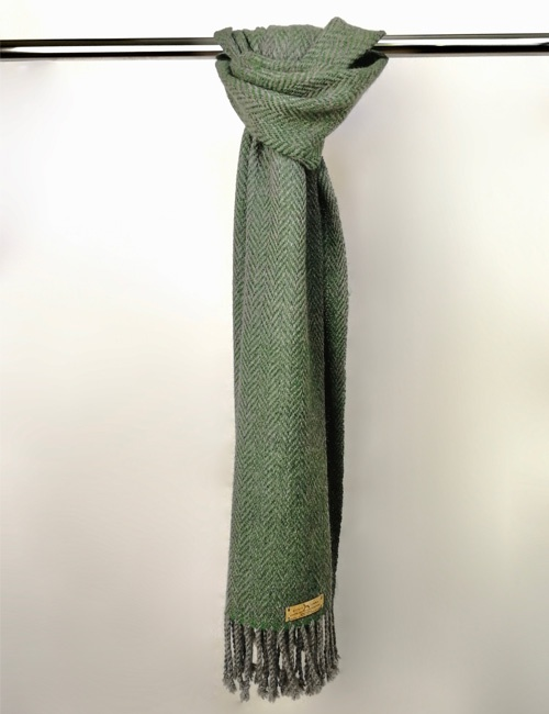 Unisex Herringbone Medium Grey And Bottle Green Handwoven Alpaca Scarf