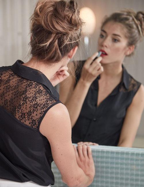 Black lace silk blouse