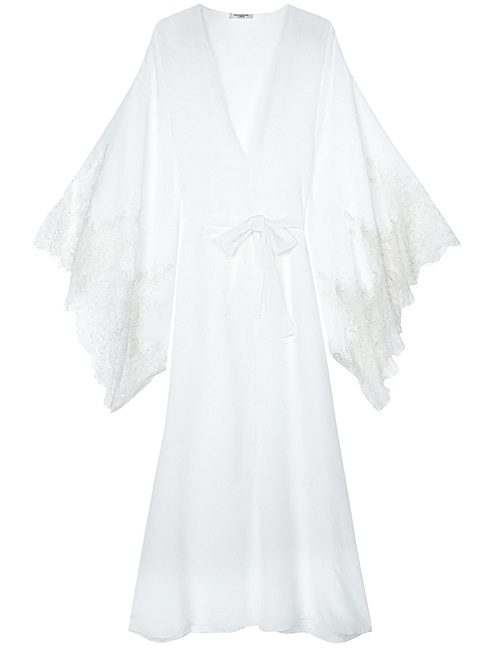 Aurora Silk & Lace Full Length Long Kimono