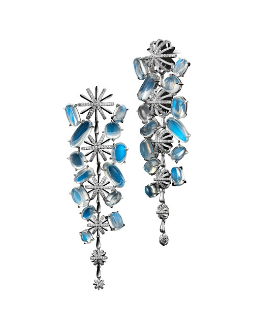 Moonstone Diamond Platinum Snowflake Earrings