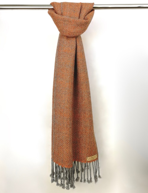 Unisex Herringbone Medium Grey And Orange Handwoven Alpaca Scarf