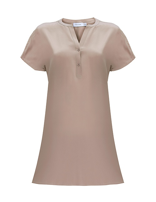 Silk Shirt Dress in Sand