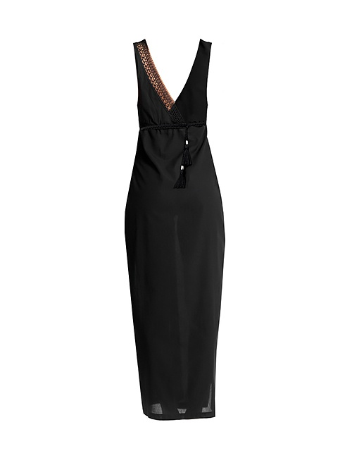 Voile Maxi Dress with Needle Lace in Black