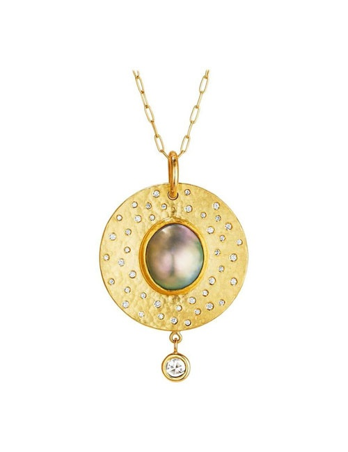 Coat of Arms Pendant - Diamonds and Mabe Pearl