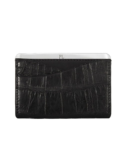 No. 25 Alligator Cardholder in Silver and Matte Black