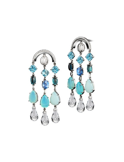 Archered Sautoir Earrings with Diamonds, Precious Stones & Snowflakes