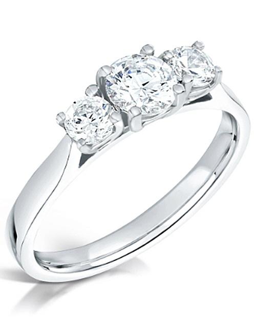 Graduated Three Stone Diamond Platinum Engagement Ring