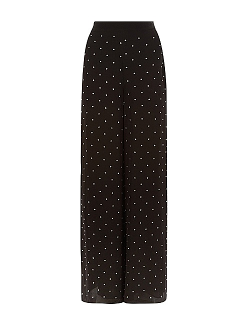 Twinkle crystal-embellished wide high-rise woven trousers