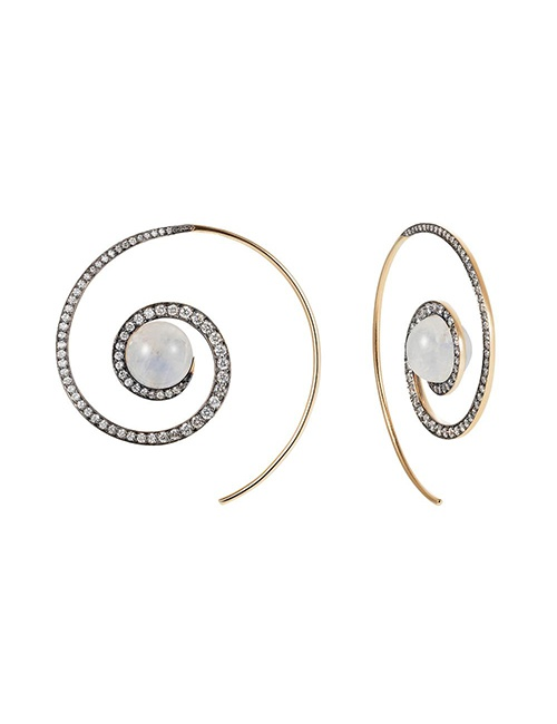 Moonstone Spiral Moon Earrings