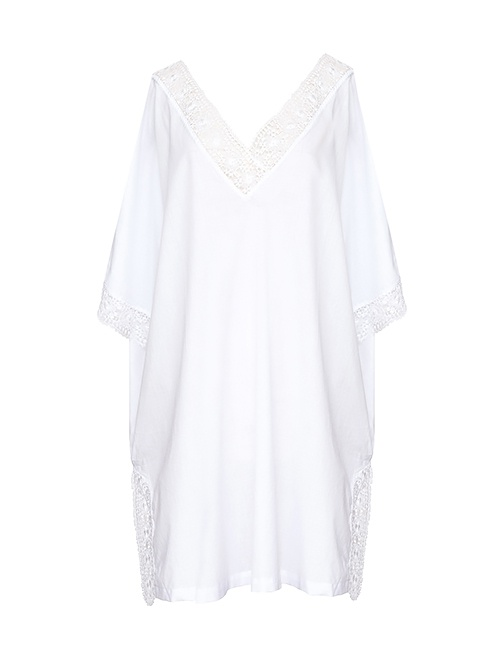 Cotton Voile Kaftan with Needle Lace