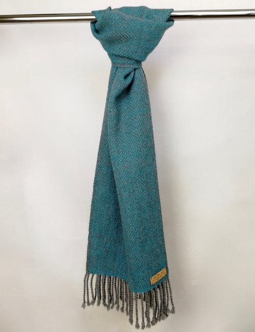 Unisex Herringbone Medium Grey And Turquoise Handwoven Alpaca Scarf