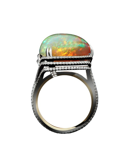 13.07 Carat *Checkerboard- Harlequin Opal & Diamond Ring