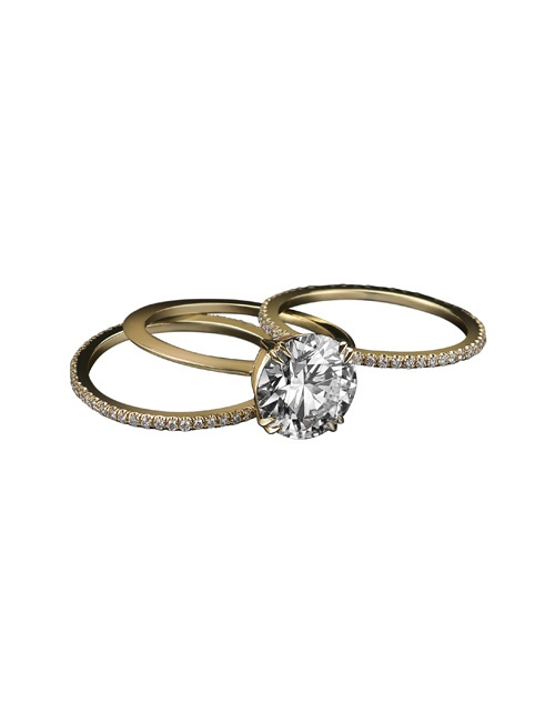 1.50 Carat GIA Certified Diamond Centre Engagement Three-Ring Set