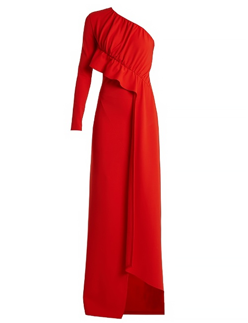 Red One-Shoulder Draped Panel Cady Gown