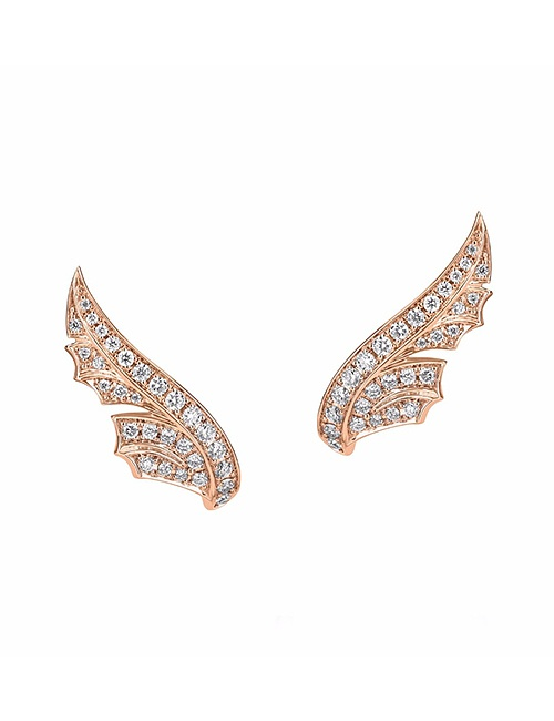 Magnipheasant Pave Feather Stud Earrings